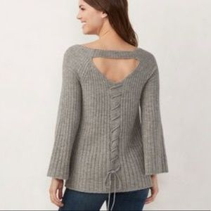 LC Lauren Conrad Lace Up Swing Sweater Gray